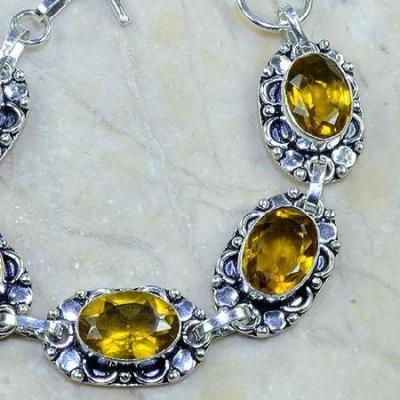 CT-0017 - Joli BRACELET 20 cm en argent 925 avec 5 CITRINES dorées - 110 carats - 22 gr