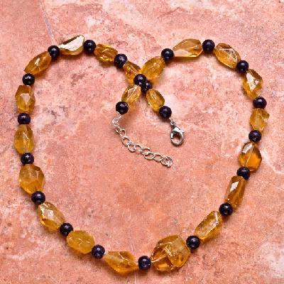 Ct 0018a collier parure sautoir perles de citrine achat vente argent 925