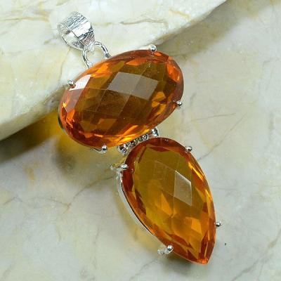 CT-0021 - Grand PENDENTIF PENDANT 60 mm en CITRINE Orange - 101 carats - 20,3 gr