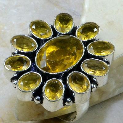 CT-0030-T60 - Belle BAGUE T60 cabochon 30 mm avec 11 CITRINES DOREES - 58 carats 11,6 gr