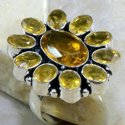 CT-0030-T62 - Belle BAGUE T62 cabochon 30 mm avec 11 CITRINES DOREES - 58 carats 11,6 gr