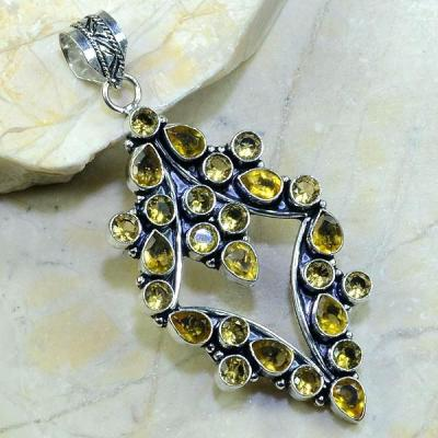CT-0032 - Grand PENDENTIF PENDANT 80 mm en CITRINE  lemon citron - 110 carats - 22 gr
