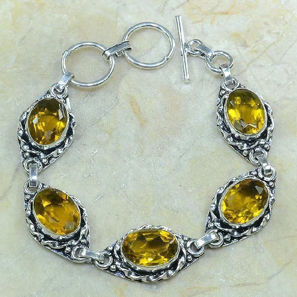 CT-0034 - Joli BRACELET 20 cm en argent 925 avec 5 CITRINES lemon citron dorées - 117 carats - 23,4 gr