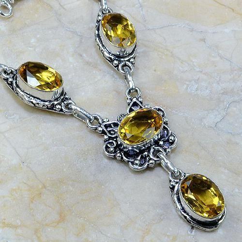 CT-0037 - Joli  COLLIER, PARURE, SAUTOIR avec 6 CITRINES dorées - 165 carats - 33 gr