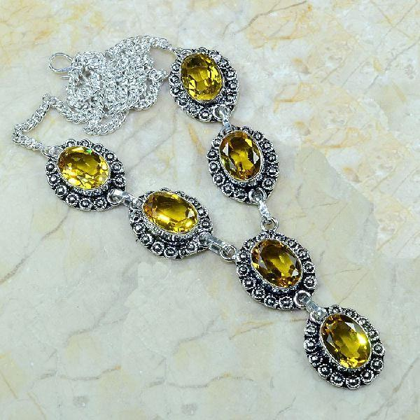 CT-0039 - Joli  COLLIER, PARURE, SAUTOIR avec 6 CITRINES dorées - 185 carats - 37 gr