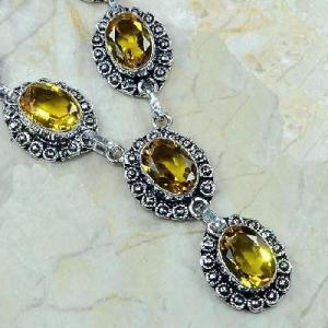 Ct 0039b collier sautoir parure citrine argent 925 achat vente bijou