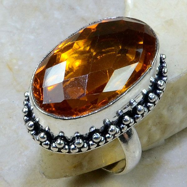 Ct 0040a bague t60 citrine orange madere argent 925 bijoux achat vente