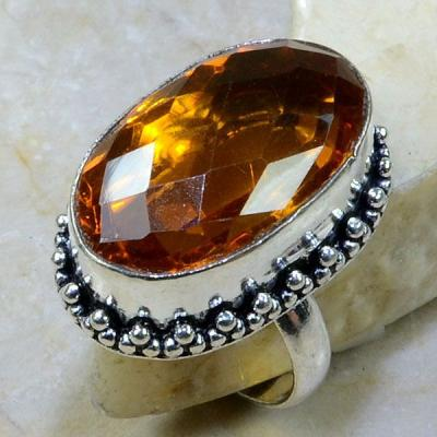 CT-0040 - Superbe BAGUE T60 cabochon 30 mm CITRINE MADERE - 69 carats 13,8 gr