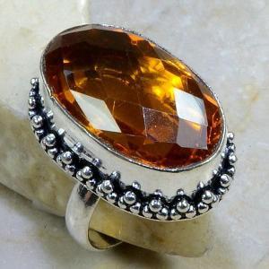 Ct 0040b bague t60 citrine orange madere argent 925 bijoux achat vente