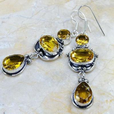 CT-0041 - Jolies  BOUCLES PENDANTS D'OREILLES 70 mm 6 CITRINES dorées - 80 carats - 16 gr