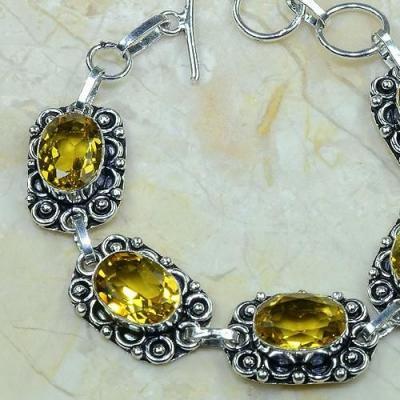 CT-0046 - Joli BRACELET 20 cm en argent 925 avec 5 CITRINES dorées - 126,5 carats - 25,3 gr