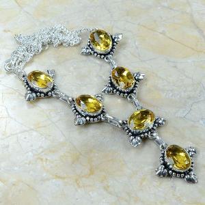 Ct 0047a collier sautoir parure citrine argent 925 achat vente bijou
