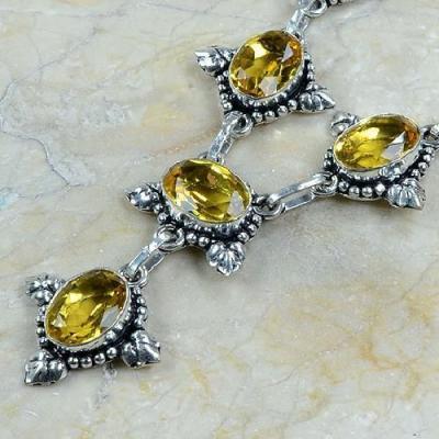 CT-0047 - Joli  COLLIER, PARURE, SAUTOIR avec 6 CITRINES dorées - 159 carats - 31,8 gr