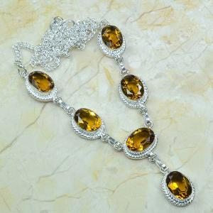 Ct 0048a collier sautoir parure citrine argent 925 achat vente bijou