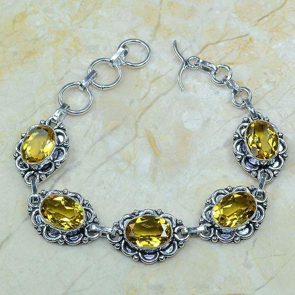 CT-0049 - Joli BRACELET 20 cm Argent 925 avec 5 CITRINES dorées - 111,5 carats - 22,3 gr
