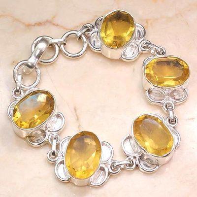Ct 00532a bracelet citrine lemon citron doree argent 925 bijoux achat vente