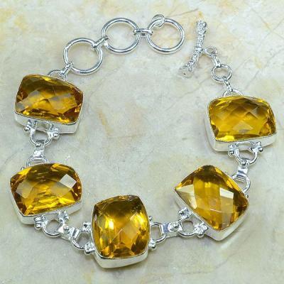 CT-0053 - Joli BRACELET 20 cm en argent 925 avec 5 CITRINES lémon citron dorées - 177,5 carats - 35,5 gr