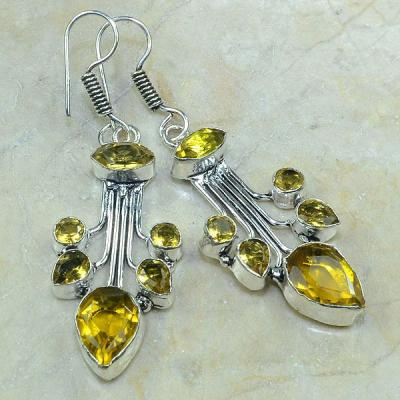 CT-0054 - Jolies  BOUCLES PENDANTS D'OREILLES 70 mm 12 CITRINES dorées - 65 carats - 13 gr