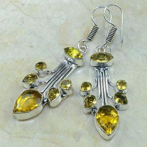 Ct 0054b boucles pendants oreilles citrine argent 925 achat vente