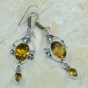Ct 0056a boucles pendants oreilles citrine argent 925 achat vente
