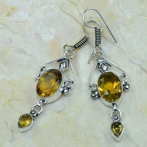 Ct 0056b boucles pendants oreilles citrine argent 925 achat vente