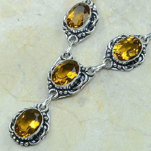 CT-0059 - Joli  COLLIER, PARURE, SAUTOIR avec 6 CITRINES dorées - 159 carats - 31,8 gr