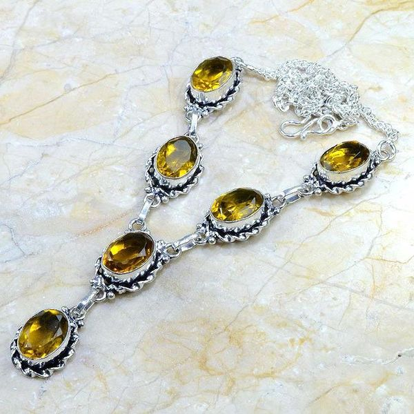 Ct 0060c collier sautoir parure citrine argent 925 achat vente bijou