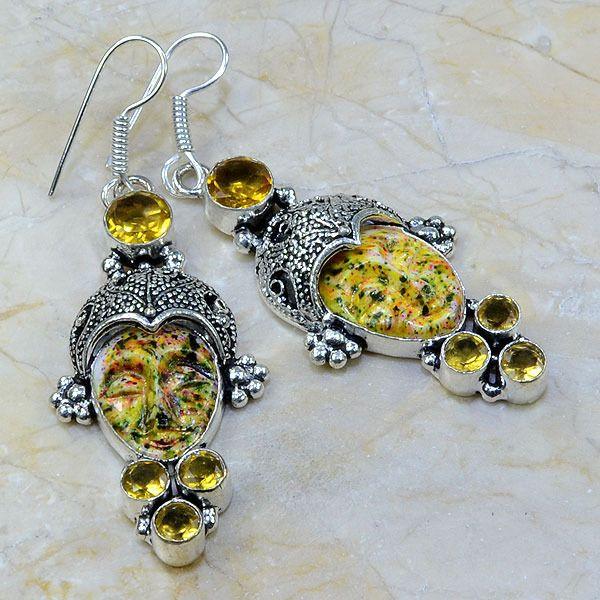 Ct 0061a boucles pendants oreilles bouddha citrine jaspe argent 925 achat vente