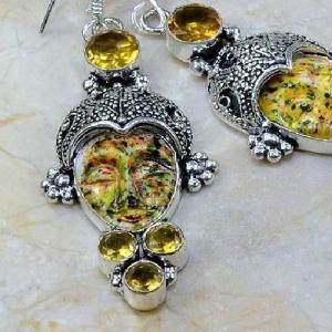 Ct 0061b boucles pendants oreilles bouddha citrine jaspe argent 925 achat vente