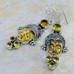 Ct 0061c boucles pendants oreilles bouddha citrine jaspe argent 925 achat vente 1