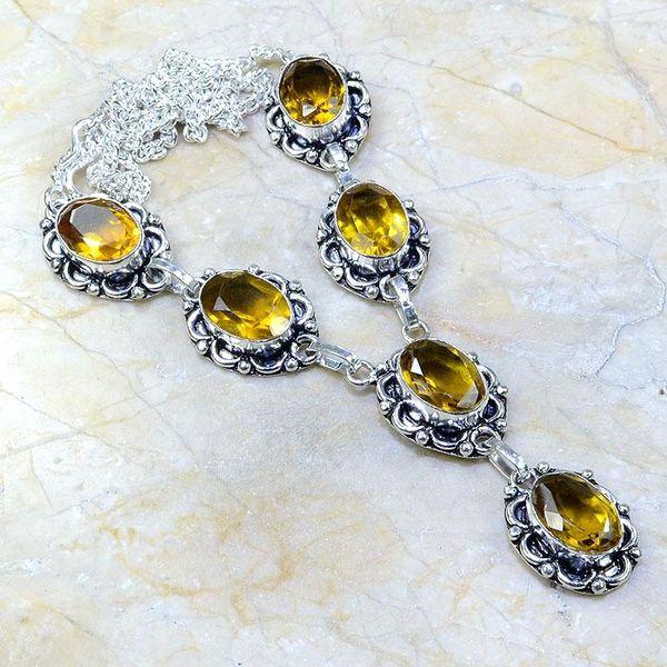Ct 0062a collier sautoir parure citrine argent 925 achat vente bijou