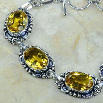 CT-0063 - Joli BRACELET 20 cm en argent 925 avec 5 CITRINES dorées - 112,5 carats - 22,5 gr