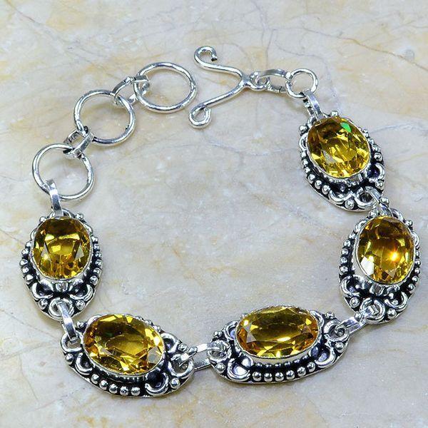 CT-0064 - Joli BRACELET 20 cm en argent 925 avec 5 CITRINES dorées - 118,5 carats - 23,7 gr