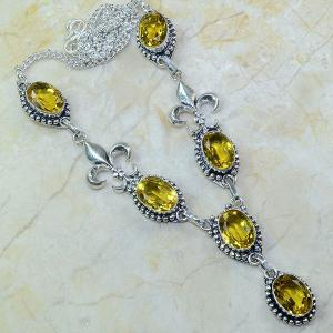 Ct 0067a collier medieval sautoir parure citrine fleur lys argent 925 achat vente bijou