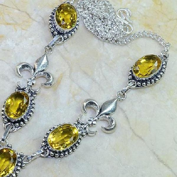 Ct 0067b collier medieval sautoir parure citrine fleur lys argent 925 achat vente bijou