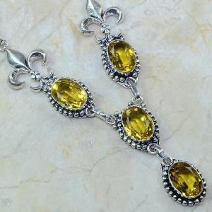 Ct 0067c collier medieval sautoir parure citrine fleur lys argent 925 achat vente bijou