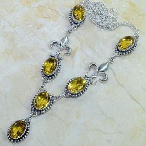 Ct 0067d collier medieval sautoir parure citrine fleur lys argent 925 achat vente bijou