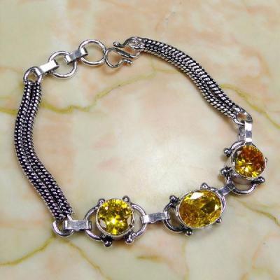 CT-0072 - Joli BRACELET 20 cm avec 3 CITRINES Or -argent 925 - 81 carats - 16,2 gr