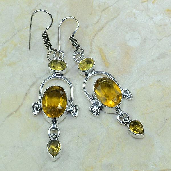 Ct 0073a boucles pendants oreilles citrine argent 925 achat vente bijoux