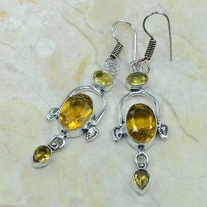 Ct 0073b boucles pendants oreilles citrine argent 925 achat vente bijoux