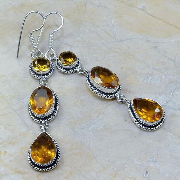 Ct 0075a boucles pendants oreilles citrine argent 925 achat vente bijoux