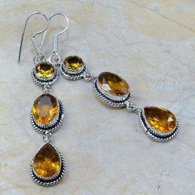 CT-0075 - Jolies  BOUCLES PENDANTS D'OREILLES 70 mm 6 CITRINES dorées - 80 carats - 16 gr