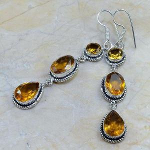 Ct 0075b boucles pendants oreilles citrine argent 925 achat vente bijoux