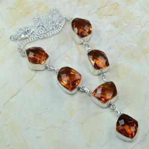 Ct 0077a collier sautoir parure citrine orange argent 925 achat vente bijou