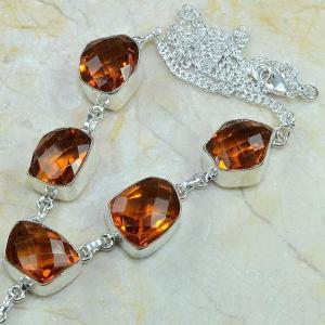 Ct 0077b collier sautoir parure citrine orange argent 925 achat vente bijou