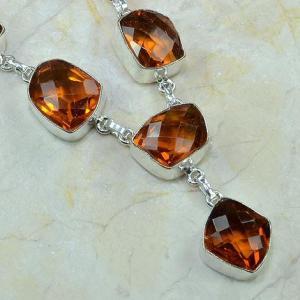 Ct 0077c collier sautoir parure citrine orange argent 925 achat vente bijou