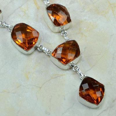 CT-0077 - Joli  COLLIER, PARURE, SAUTOIR avec 6 CITRINES Madère Orange - 207 carats - 41,4 gr