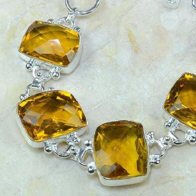 CT-00078 - Joli BRACELET 20 cm en argent 925 avec 5 CITRINES dorées - 210 carats - 42 gr