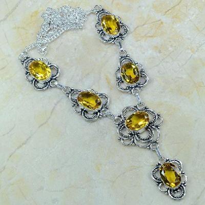 CT-0080 - Joli  COLLIER, PARURE, SAUTOIR avec 6 CITRINES dorées - 154 carats - 30,8 gr