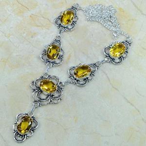 Ct 0080d collier sautoir parure citrine orange argent 925 achat vente bijou